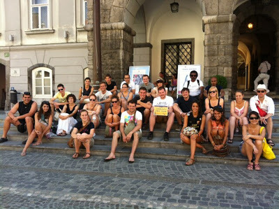 The Ljubljana Free Tour – MikeW in the middle on the front row! (source – The Ljubljana Free Tour)