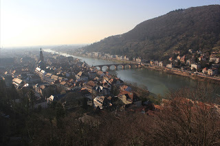 View of River Neckar and Heidelberg Old Town from Heidelberg Castle (source – Allana D)