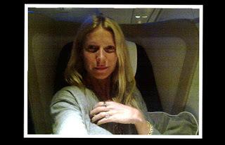 Gwyneth struggling in first class (source – goop.com)