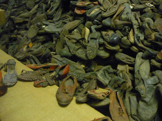 The enormous collection of shoes taken from the victims at Auschwitz. (source - Pulped Travel)